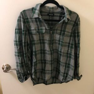 Cozy Madewell Flannel zip popover shirt